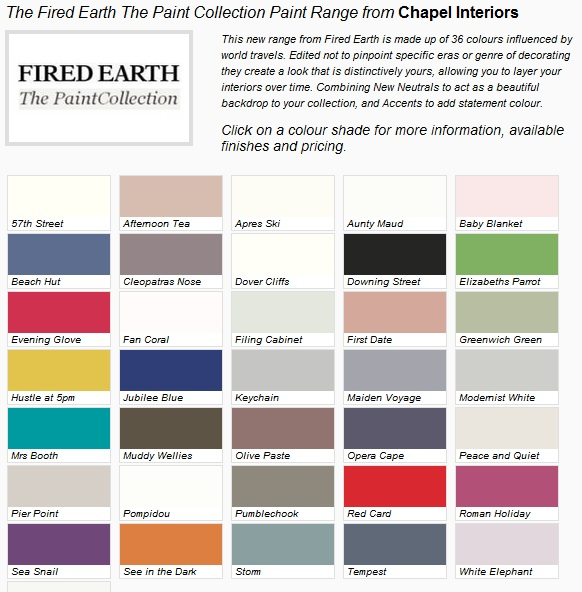 Fired Earth Paints Colours