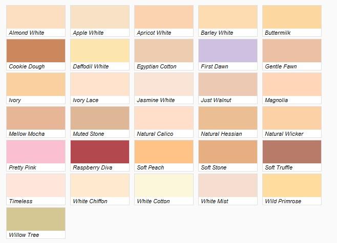Taubmans Interior Paint Colour Chart